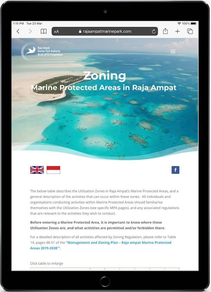 Raja Ampat Marine Park Website Tablet View